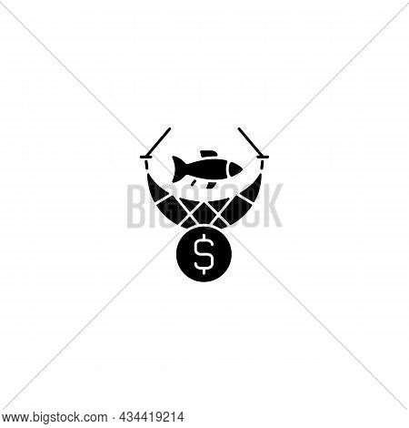 Commercial Fishing Black Glyph Icon. Catching Seafood For Trade. Aquaculture Harvest. Fishing Indust