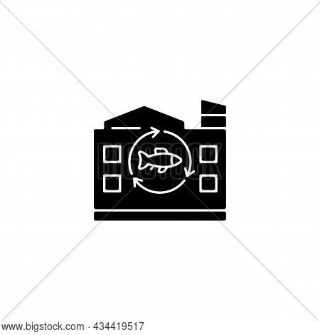 Fish Processing Plant Black Glyph Icon. Commercial Seafood Products Preparation And Preservation. Fi