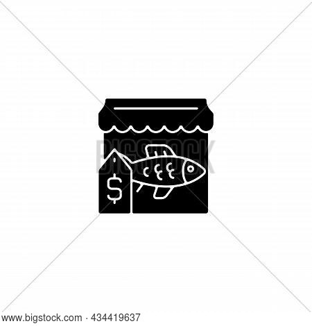 Fish Market Black Glyph Icon. Fresh, Frozen Seafood Trade And Supply. Fish Marketplace. Fishmongers