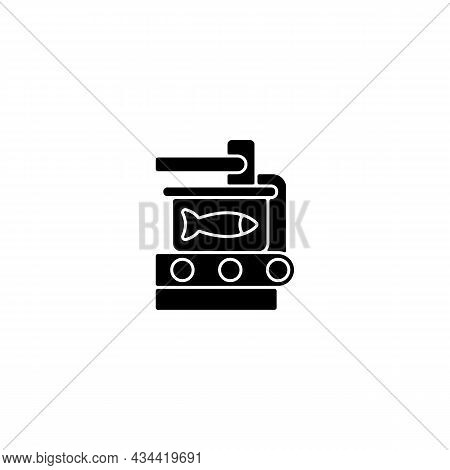 Canning Black Glyph Icon. Fish Processing. Sealing Conveyor. Conserved Seafood. Commercial Fish Prod