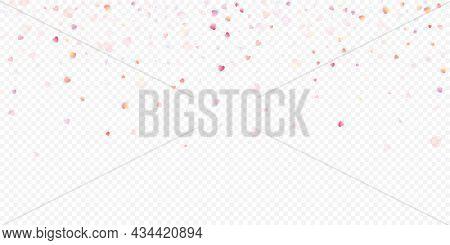 Heart Love Vector Background. Valentine Frame. Pink Hearts Confetti. Scattered Love Symbols. Random