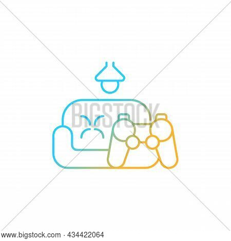 Game Room Gradient Linear Vector Icon. Increase Employee Engagement. Staff Lounge Area. Psychologica