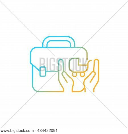 Child Care Assistance Gradient Linear Vector Icon. Family And Work Balance. Assisting Parents With C