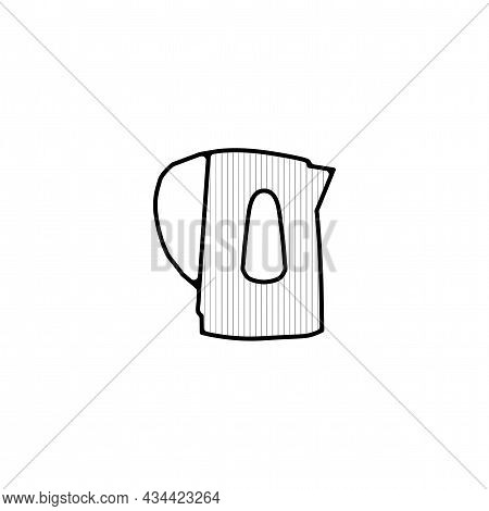 Electric Kettle Vector Thin Line Icon. Electric Kettle Hand Drawn Thin Line Icon.