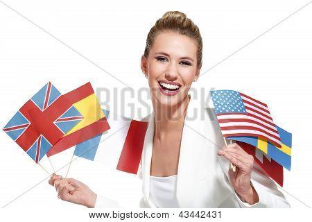 Beautiful Woman Showing International Flags