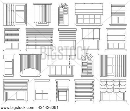 Window Blind Vector Outline Icon Set . Collection Vector Illustration On Jalousie House White Backgr