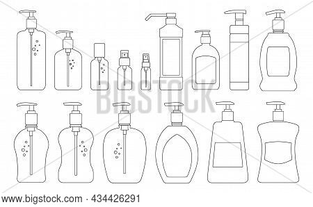 Bottle Antiseptic Vector Outline Set Icon. Vector Illustration Sanitizer On White Background. Isolat
