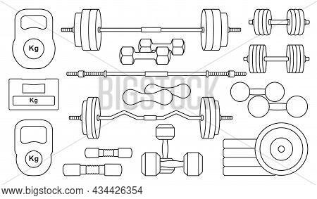 Dumbbell Of Fitness Vector Outline Set Icon. Vector Illustration Barbell On White Background. Isolat