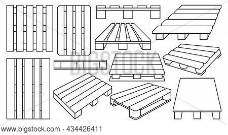 Wooden Pallet Vector Outline Set Icon. Vector Illustration Warehouse Platform On White Background. I