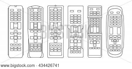 Tv Remote Isolated Outline Set Icon. Television Control Vector Outline Icon. Vector Illustration Tv