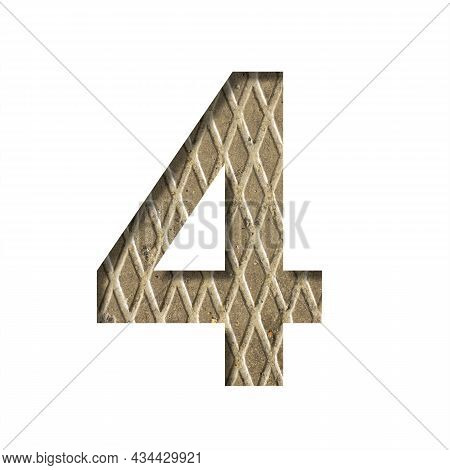 Font On A Embossed Metal Sheet. The Number Four, 4 Is Cut Out Of White Paper On The Background Of A