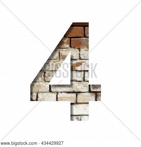 Brick Font. Number Four, 4 On The Background Of An Old Brick Wall With Peeled Paint. Decorative Alph
