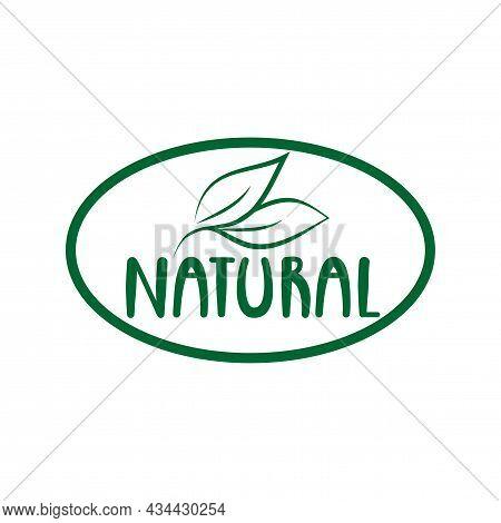 Natural Logo Green Leaf Label  For Veggie Or Vegetarian Food Package Design. Isolated Green Leaf Ico