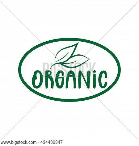 Organic Logo Green Leaf Label  For Veggie Or Vegetarian Food Package Design. Isolated Green Leaf Ico