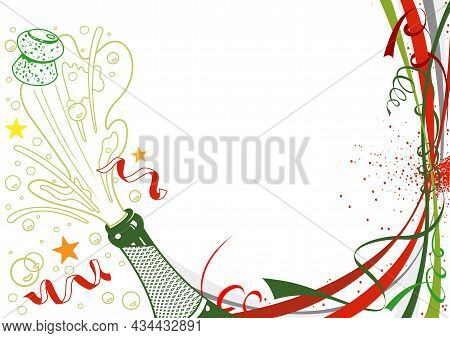 Happy New Year Background With Champagne Bottle And Celebration Decoration - Illustration, Vector