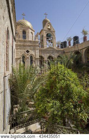 Jordan Valley, Israel - September 26th, 2021: The Inner Yard Of The Monastery Of Saint Gerasimos, In