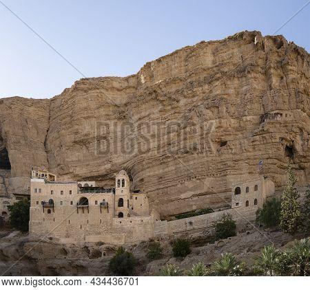 Wadi Qelt, Israel - September 26th, 2021: The Saint George Monastry, Built On The Walls Of Prat Broo
