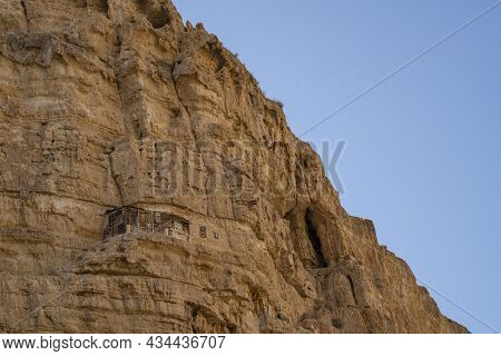 Judea, Israel - September 26th, 2021: Ancient Man Made Caves For Hermits ( Lavra Cells ), In The Cli