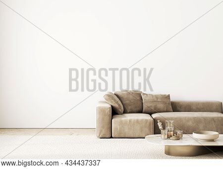 Contemporary Interior With Sofa And Decor. 3d Render Illustration Mockup.