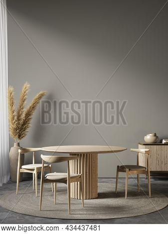 Gray Interior With Dining Table, Chairs And Decor. 3d Render Illustration Mockup.