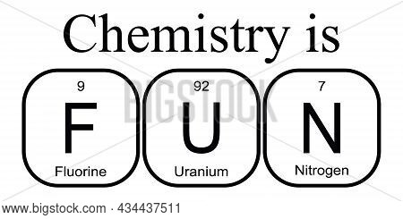 Chemistry Is Fun - Fluorine, Uranium And Nitrogen. Funny Phrase With The Periodic Table Of The Chemi