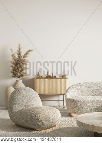 Contemporary Classic Interior With Armchair, Dresser, Sofa And Decor. 3d Render Illustration Mockup.