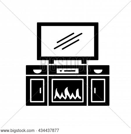 Tv Stand With Electric Fireplace. Vector Illustration Of Modern Media Console. Flat Icon Of Led, Fla