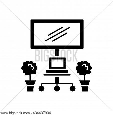 Mobile Tv Cart With Wheels. Vector Illustration. Modern Media Console. Flat Icon Of Portable Stand F