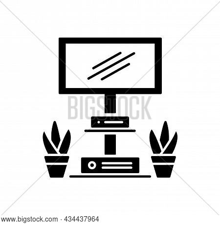 Floor Stand For Tv Display Or Screen. Black And White Vector Illustration. Modern Media Console. Fla