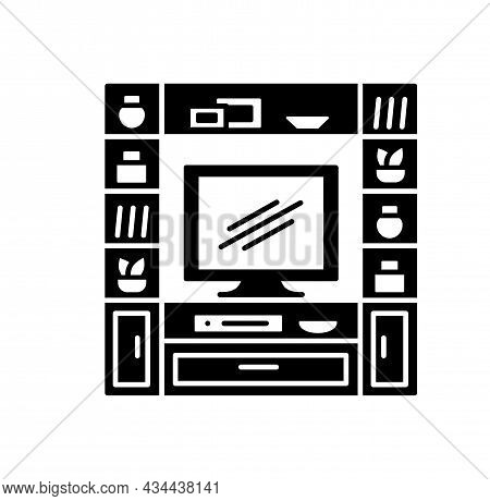 Entertainment Center. Tv Stand With Shelves. Vector Illustration Of Modern Media Console. Flat Icon