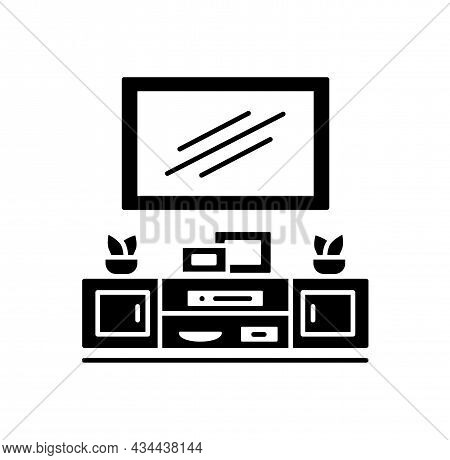 Wall Mounted Floating Tv Stand. Vector Illustration Of Modern Media Console. Flat Icon Of Led Televi