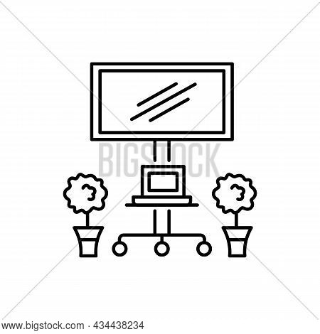 Mobile Tv Cart With Wheels. Vector Illustration. Modern Media Console. Line Icon Of Portable Stand F