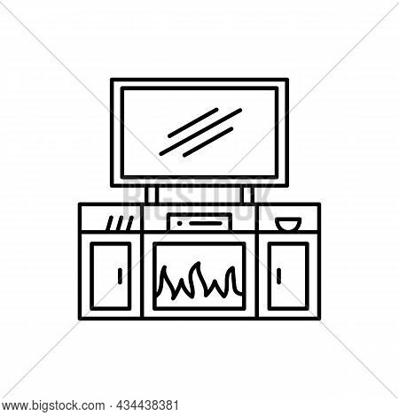 Tv Stand With Electric Fireplace. Vector Illustration Of Modern Media Console. Line Icon Of Led, Fla