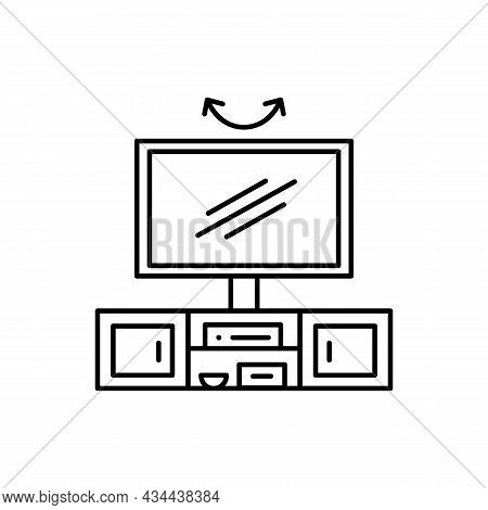Swivel Tv Stand. Vector Illustration Of Modern Media Console. Line Icon Of Led Or Flat Screen Televi