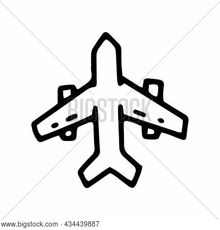 Airplane Line Vector Doodle Simple Icon Design