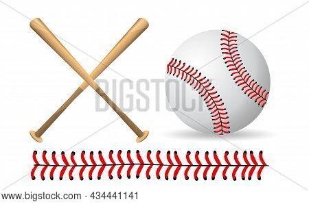 Baseball And Baseball Bats On A White Background, Sport Game , Vector Illustration.