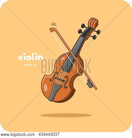Violin Is A Classical Stringed Instrument Group, Vector Design And Isolated Background.