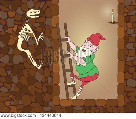Funny Cute Mythological Gnome Climbs Up From Their Cave By Ladder