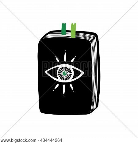 Magic Book, Spell Book Vector Doodle Style Illustration For Witchcraft And Esoteric Design.