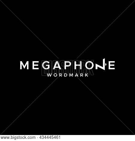 Clean And Unique Design Wordmark About Megaphone On Letter N. Eps 10, Vector.