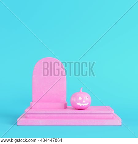 Pink Halloween Pumpkin With Gravestone On Bright Blue Background In Pastel Colors. Minimalism Concep