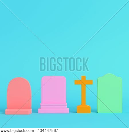 Colorful Gravestones On Bright Blue Background In Pastel Colors. Minimalism Concept. 3d Render