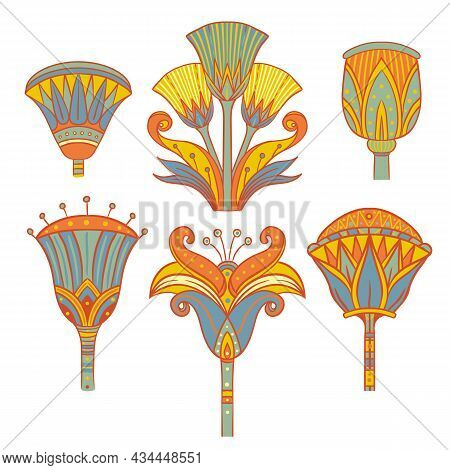 Egyptian Floral Colorful Design Element Set Isolated On White. Lotus Flower, Vector Sign, Symbol, Lo