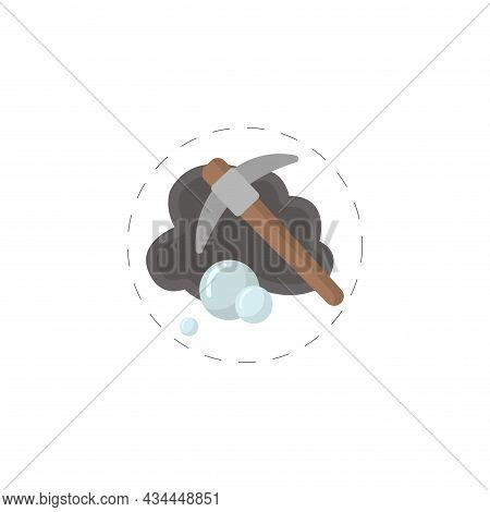 Diamond Mining Vector Clipart. Mining Hammer Isolated Flat Icon.