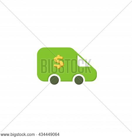 Cash Transit Van Vector Clipart. Cash Transit Van Isolated Flat Icon.