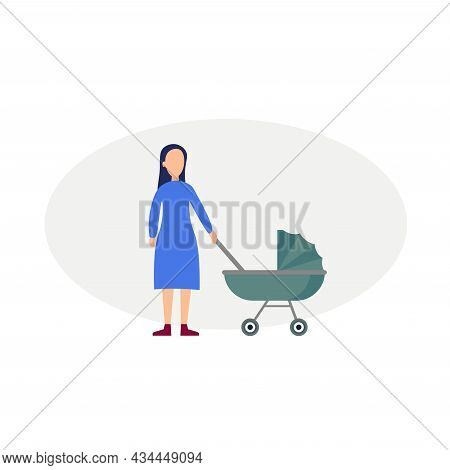 Mother With Baby Vector Clipart. Mother With Baby Isolated Flat Icon.