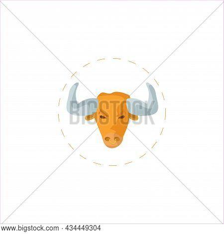 Bull Head Vector Clipart. Bull Isolated Flat Icon.