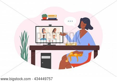 Young Female Character Is Having A Video Conference Call With Her Friends At Home On White Backgroun
