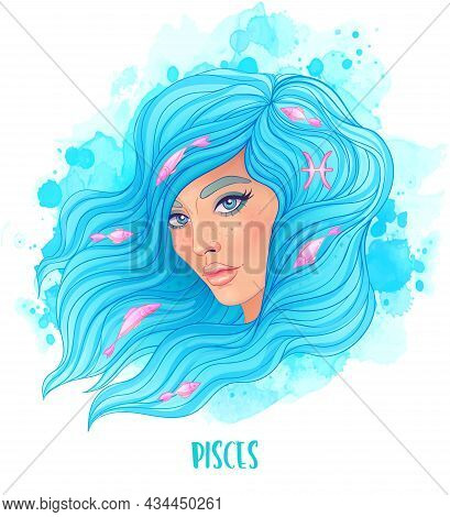 Pisces Astrological Sign As A Beautiful Girl. Vector Illustration Over Watercolor Background Isolate