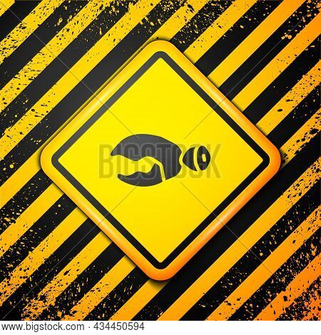 Black Lobster Or Crab Claw Icon Isolated On Yellow Background. Warning Sign. Vector